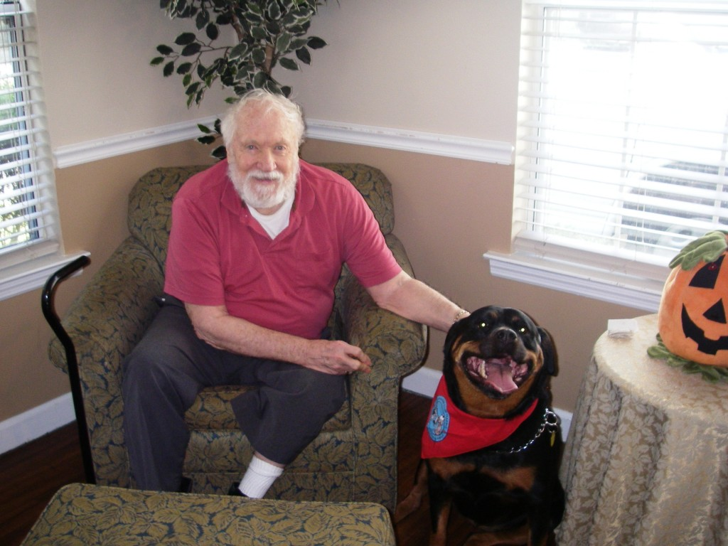 """""""I love Carle because she has a very soothing way about her. It is nice to have visitors and it is even more special when the visitor is a dog like Carle. She just has a way of making everything better."""" ~ Jerry Parrot"""