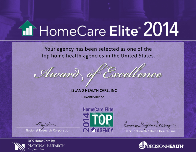 Island Health Care Named A Top Agency Of The 2014 Homecare Elite